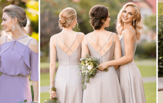 The new Sorella Vita dresses are here! And we could not be more excited about these superb trends. In lovely shades made of in-demand fabrics, these new dresses are sure to please even the most discerning brides and bridesmaids. Three of our new gowns feature off-the-shoulder flutter sleeves that we know brides are going to love! Taking a page from off-the-shoulder ready-to-wear tops, the flutter sleeves and off-the-shoulder straps are something brides will be familiar with. These new looks offer something trendy for the brides who are looking for a more fashion-forward bridal party.